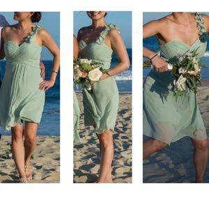 Dresses & Skirts - Sage color one shoulder dress